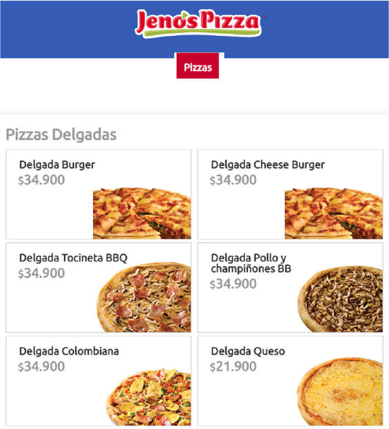 Ofertas de Jeno's Pizza, Pizzas