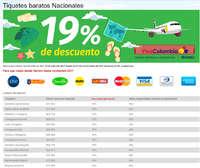 Tiquetes baratos nacionales - 19% de descuento