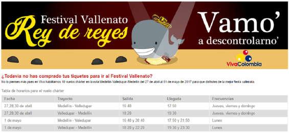 Ofertas de Viva Colombia, Festival Vallenato