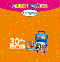 Cumpleaños Pepe Ganga - 30% de descuento en productos escolares