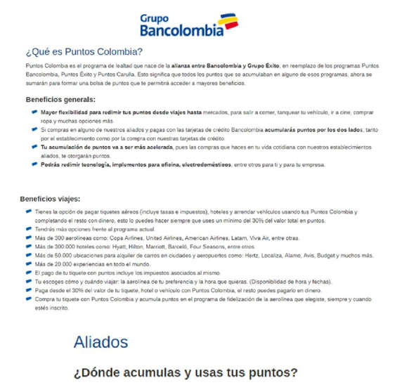 Ofertas de Bancolombia, Bancolombia Puntos Colombia