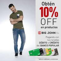 Obtén 10%Off en productos Big John - Pagando con tus tarjetas débito y crédito del Banco Popular