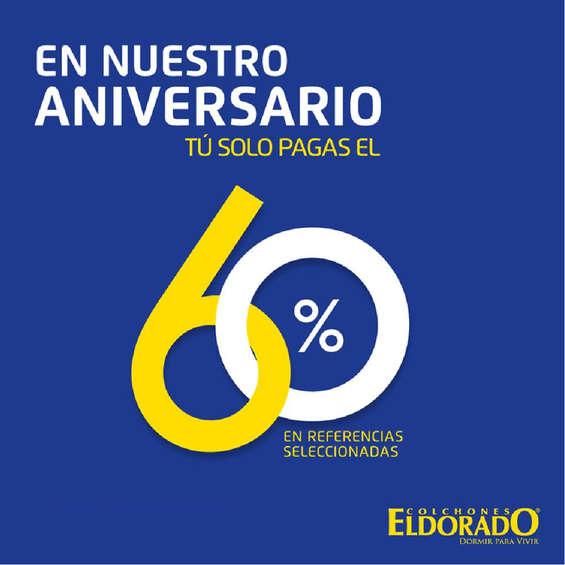 Ofertas de Colchones El Dorado, En nuestro aniversario tú sólo pagas el 60% en referencias seleccionadas