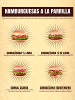 Ofertas de El Corral, Menú Hamburguesas