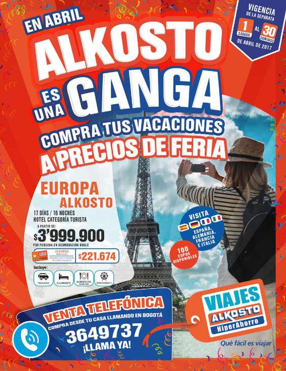 Ofertas de Alkosto, Catálogo Viajes Alkosto - En Abril Alkosto es una Ganga